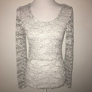 Grey & white rose lace blouse